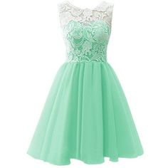 AngelDragon O-Neck Lace Short Chiffon Party Bridesmaid Prom Dress ❤ liked on Polyvore featuring dresses, green lace dress, green prom dresses, bridesmaid dresses, prom dresses and party dresses