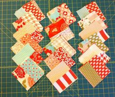 Stacks of Finished Blocks made from jelly roll - tutorial