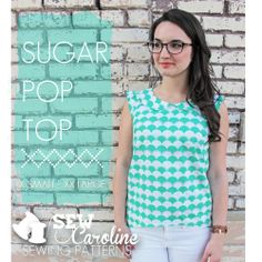 The Sugar Pop Top was designed for the everyday woman who is looking to up her wardrobe of jeans and t-shirts. This top is constructed simply, but is sophisticated nonetheless. The Peter Pan Collar, flutter or cap sleeves, and oh-so-subtle hi-lo hem create a unique and beautiful top to be made and worn time and time again.