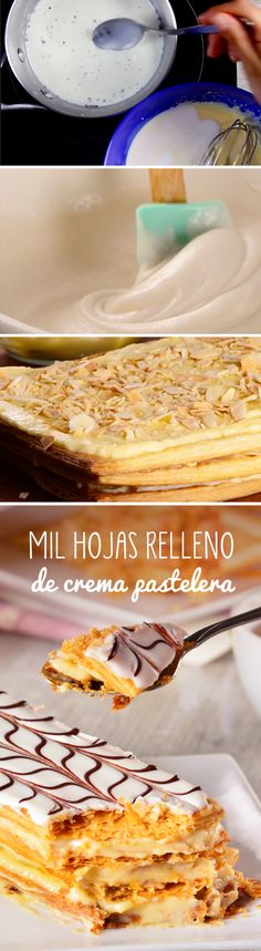 Enjoy this delicious cake filled with a pastry cream with a crunchy texture and where the almonds give a spectacular touch. Do not miss the opportunity to prepare this delicious dessert; Sweet Desserts, Delicious Desserts, My Recipes, Favorite Recipes, Puff Pastry Recipes, Le Chef, Cake Shop, Yummy Cakes, Baked Goods