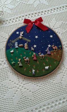 Tambora con pesebre en botones: Nativity Ornaments, Christmas Nativity Scene, Nativity Crafts, Christmas Projects, Felt Crafts, Holiday Crafts, Nativity Scenes, Felt Ornaments, Christmas Sewing