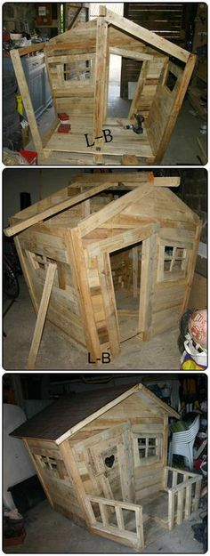 Pallet Kids Hut #Garden, #Kids, #PalletHut, #RecyclingWoodPallets