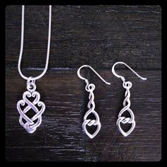 "Sterling Silver Necklace and Earrings Gorgeous .925 Silver Celtic Heart necklace and earrings set. Necklace chain is approx. 16"". Earrings, not measuring hook, are 1"" each. Jewelry"