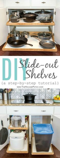 DIY Slide-Out Shelves | Diy pull-out kitchen shelves | How to make drawers for kitchen cabinets | Step-by-step cabinetry tutorial | Diy Cabinetry and Woodworking | Simple woodworking | Diy kitchen organization | Space Hacker | Small space organization | TheNavagePatch.com