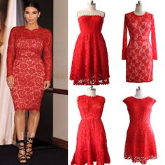4Styles Vintage Red Lace KneeLength Formal Evening Prom Wedding Lady short Dress