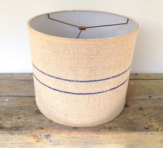 Drum Lamp Shade Lampshade Blue Stripe Grain Sack Vintage 14x14x12 Drum Shade - Great Texture - Table or Pendant lampshade by lampshadelady on Etsy