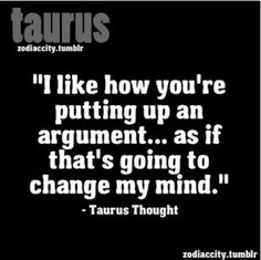 taurus thought. lol. if it's a viable argument then ok, but if it's just BS then that just = nod and do it my own way.