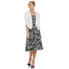 c9d23d51d1 Women s Perceptions 2-Piece Paisley Dress   Cardigan Set