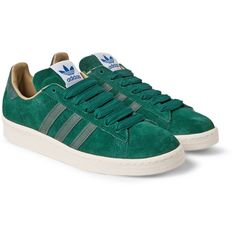 adidas Originals Campus 80s BID Suede Sneakers (€89) ❤ liked on Polyvore featuring mens, men's shoes, men's sneakers, schuhe, shoes y green
