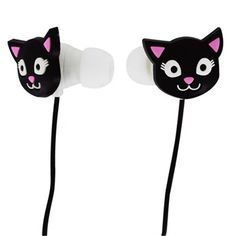 Kulaklık Swing Siyah Kedi Cadeau Design, Audio, Headphones, Electronics, Cats, Products, Earbuds With Mic, Cable Reel, Animaux