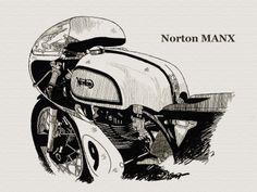 Norton MANX Norton Manx, Motorcycle Posters, Car Sketch, Bicycle Design, Creative Inspiration, Vintage Posters, Illustrations Posters, Art Sketches, Clip Art