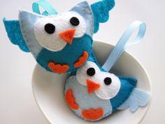 Felt Owl Ornament 2 Handmade Plush Toy Set of 2 por Mariapalito