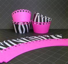 Zebra and Hot Pink Cupcake Wrappers.