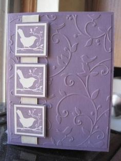 handmade card ... monochromatic violet ... embossing folder texture for background ... three inches on a ribbon with same bird image ... like it! by Jovita Cruz