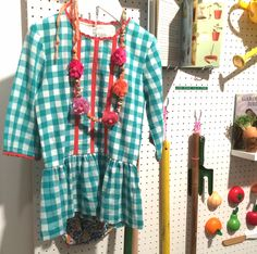 Gingham and gardening displays at Mini Boden for spring 2015 kids fashion