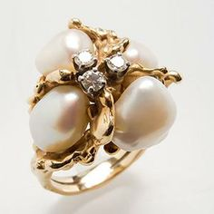 Vintage Baroque Pearl & Diamond Cocktail Ring 14K Gold