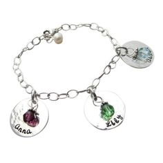 Childs Name Birthstone Charm Bracelet - Children's Names Bracelet - Child Name Bracelet - Personalized Mothers Bracelet - Hip Mom Jewelry