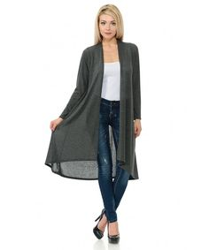 Women's Open Front Longline Cardigan - Charcoal - CB17Y03KYRG,Women's Clothing, Sweaters, Cardigans  #Sweaters #style #fashion #outfits #Cardigans