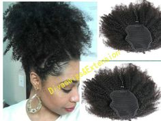 Short high natural puff clip in 4A 4B 4C curly weave afro kinky human hair 120g