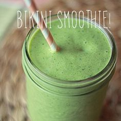 BIKINI SMOOTHIE!    Ingredients    1 cup raw spinach  1 cup frozen peaches  1 cup frozen pineapples  1 teaspoon organic flax seed  1 teaspoon dried coconut flakes  1 scoop of your favorite protein powder ~ We know it's Perfect Fit ;)  ½ banana (sliced and frozen is best)  1 cup Almond milk