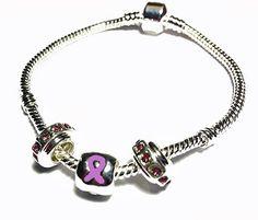 Pandora Style Epilepsy Awareness Silver Charm Bracelet