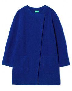 Cappotto in lana cotta Blu - Donna   Benetton