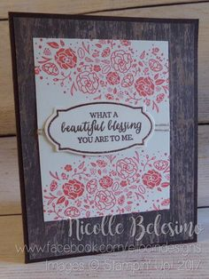 """Rustic themed any occasion card made with """"Wood Words"""" and """"Rose Wonder"""" stamp sets, Rose Garden Thinlits dies, and Wood Textures Designer Series Paper Stack from Stampin' Up!  www.nicollebelesimo.stampinup.net"""