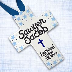 Blue and Navy - Baby Baptism Gift - Personalized Baptism Cross - Christening Gifts - Preppy Baby Boy - Baptism Favors - Baptism Decorations Baby Baptism Gifts, Baptism Favors, Christening Gifts, Baby Gifts, Preppy Baby Boy, Baptism Decorations, Baby Dedication, Cross Paintings, Christian Gifts