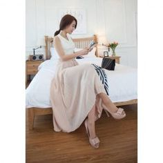 $8.00 Simplicity Style Ruffled Elastic Waist Solid Color Chiffon Long Skirt For Women