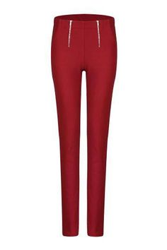 Red Zipper Pencil Pant - US$21.95 -YOINS