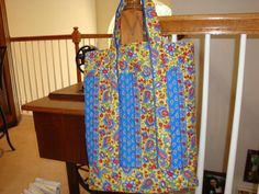 Tote Bag: sewn with double sided quilted fabric by an 8 year old!