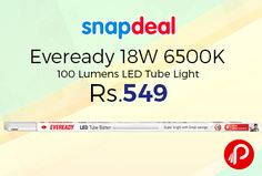 Snapdeal is offering 15% off on Eveready 18W 6500K 100 Lumens #LED #TubeLight just Rs.549. 18W LED Batten provide same light output as 36W conventional Battens while consuming half the power thereby saving 50% energy, No UV/IR, Mercury & Lead Free, 100lm/Watt, Light Output same as 36W conventional Batten ...  http://www.paisebachaoindia.com/eveready-18w-6500k-100-lumens-led-tube-light-just-rs-549-snapdeal/