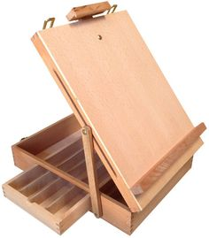 TABLE TOP WOODEN ARTIST DRAWING SKETCH EASEL BOX w/DRAWER, ELM WOOD