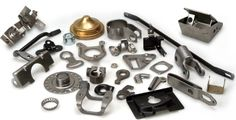 A variety of stamped metal pieces