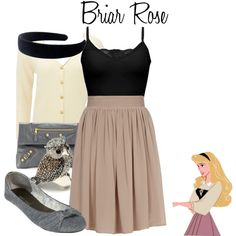 "Adorable bookish Disney look, ""Sleeping Beauty"" Disney Character Outfits, Cute Disney Outfits, Disney Themed Outfits, Disneyland Outfits, Character Inspired Outfits, Disney Bound Outfits, Disney Dresses, Cute Outfits, Disney Princess Outfits"