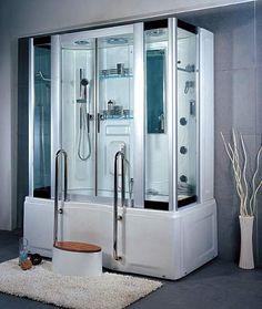 LineaAqua Mercury 70 X 39 Steam Shower Enclosure With Rain Shower, Jetted  Whirlpool Bath Tub, Mood Lighting, 6 Body Sprays With Teak Step Boost Your  Energy ...