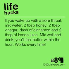 Sore Throat Remedy - 1000 Life Hacks - Improve your life one hack at a time. 1000 Life Hacks, DIYs, tips, tricks and More. Tips And Tricks, Cold Remedies, Natural Health Remedies, Simple Life Hacks, Useful Life Hacks, Hack My Life, Makeup Tricks, 1000 Lifehacks, Home Remedy For Cough