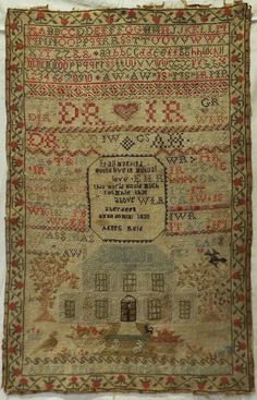 EARLY 19TH CENTURY SCOTTISH HOUSE SAMPLER BY AGNES REID AGED 10 - 1830