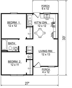 Ranch Style House Plan - 2 Beds 1 Baths 736 Sq/Ft Plan #14-237 Floor Plan - Main Floor Plan - Houseplans.com