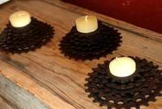Rusty Gears Candle Holders by ReMainDesigns, Etsy