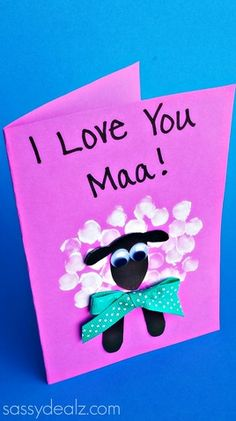 fingerprint sheep mothers day card