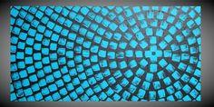 Painting Art Black Turquoise Large Canvas Art by acrylkreativ