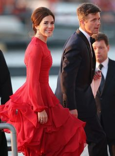 Code red: The Princess, pictured here at the Inauguration of King Willem Alexander of the Netherlands on April 30, 2013, is famed for her love of berry colors