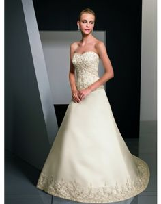 Nice Satin Sweetheart Cathedral Train A-Line Wedding Dresses With Embroidery