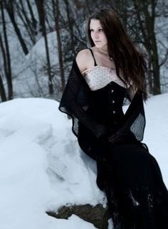 Long skirt with plain black underbust corset