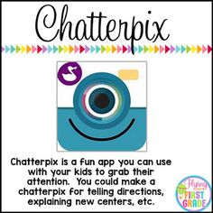 Chatterpix is a fun app you can use with your kids to grab their attention. You could make a chatterpix for telling directions, explaining new centers, etc. Back to School IPAD Apps