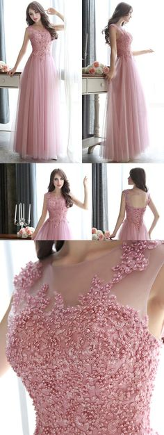 Open Back Pearl Beaded Prom Dresses, All Over Beaded Pink Prom Dress, Modest Illusion Long Prom Dresses with Lace Appliques
