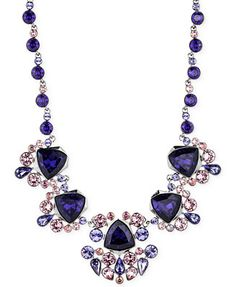 Givenchy Light Hematite-Tone Purple Crystal Collar Necklace