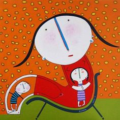 Pinzellades al món Sing To Me, Mother And Child, Tweety, Childhood, Children, Mothers, Illustrations, Fictional Characters, Art
