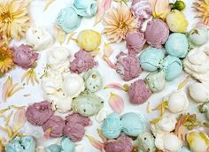 Their volume of Kinfolk Magazine is sprinkled with flowers and ice cream. Designed by Amy Merrick. Photographer Parker Fitzgerald captures perfectly melted ice cream blended with pastel hues of various Spring flowers. Gelato, Parker Fitzgerald, Kinfolk Magazine, Waffle Cones, Cream Flowers, Pastel Flowers, Flower Petals, Spring Flowers, Spring Bouquet